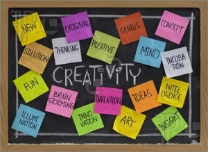 Creativity word cloud, sticky notes on a blackboard