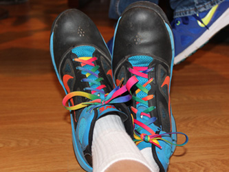Student wearing fun multicolor shoelaces