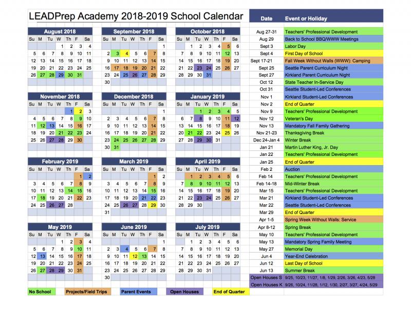 2018-19 LEADPrep Calendar