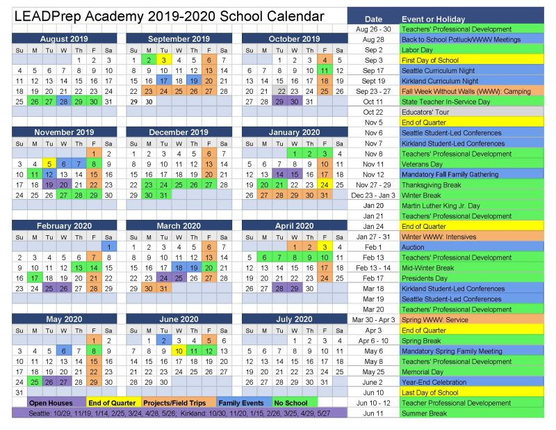 Official LEADPrep Calendar 2019-20