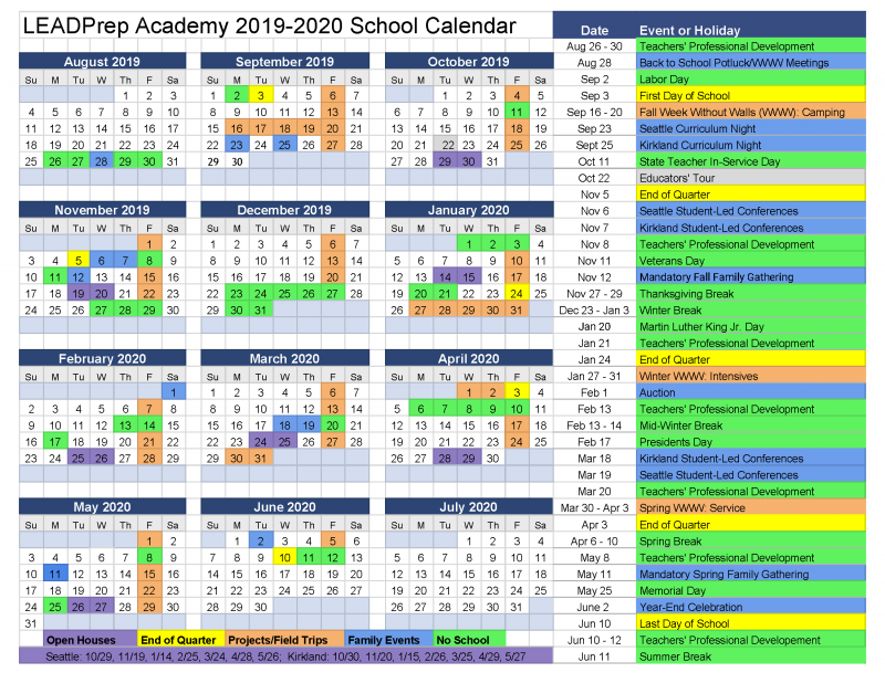 UPDATED Official LEADPrep Calendar 2019-20