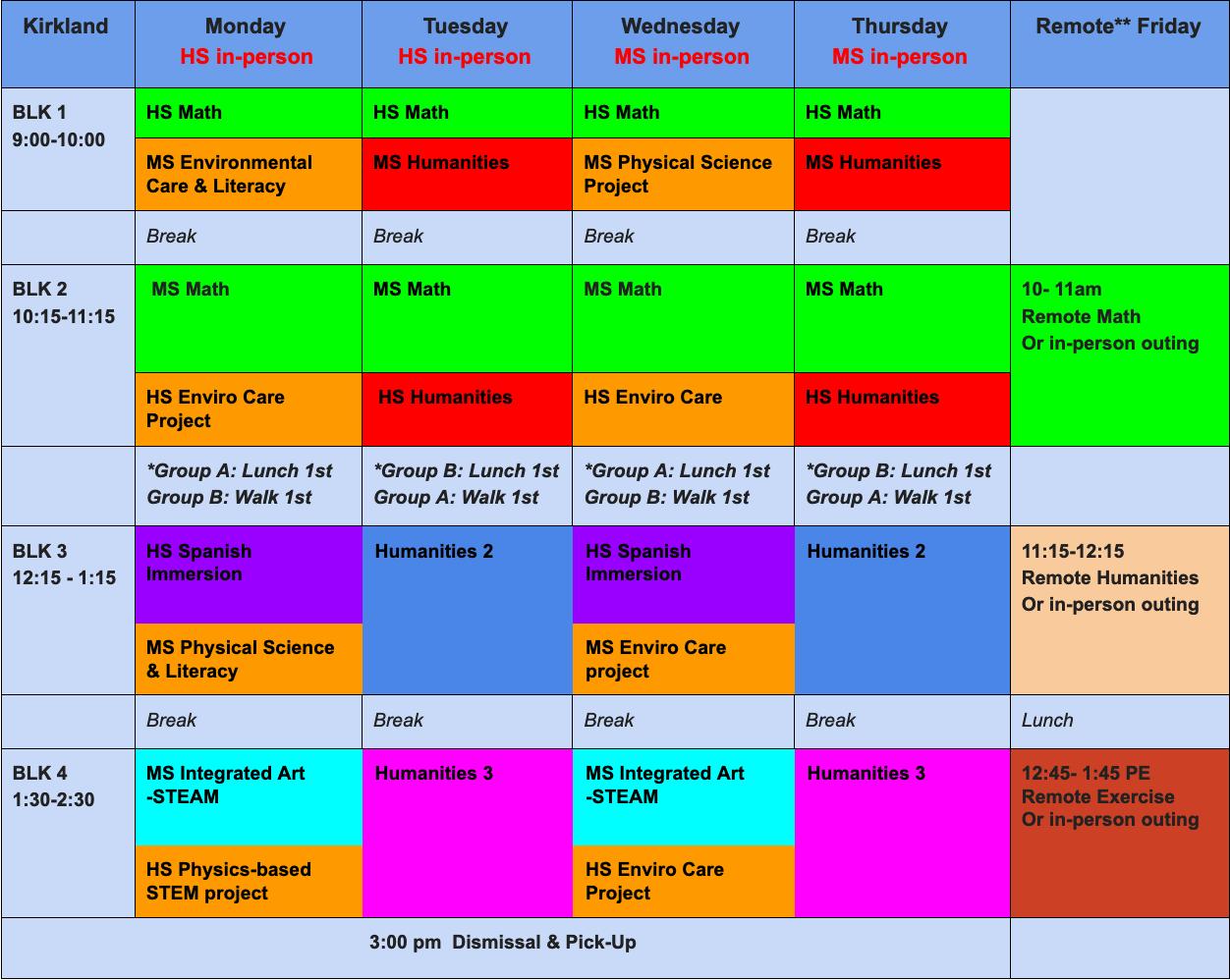 LEADPrep Winter Hybrid Schedule