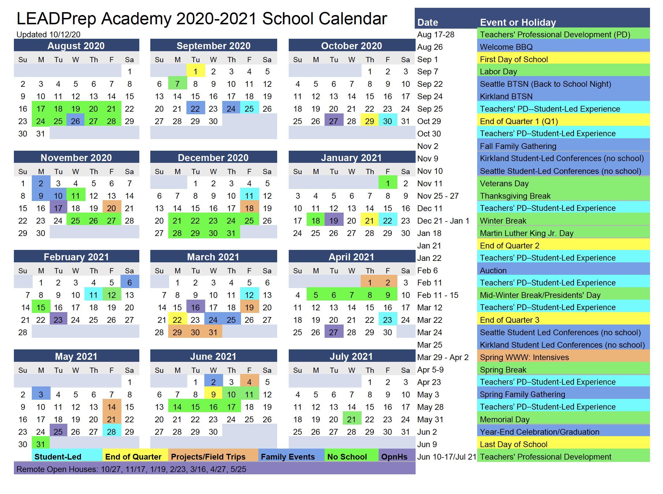 LEADPrep 2020-21 Calendar